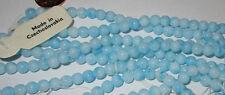130 Vintage Czech Glass 7mm Lovely Light Blue Swirl Round Necklace Beads