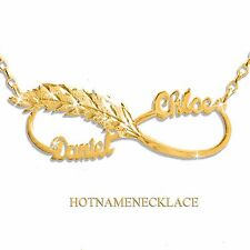 Personalized Infinity 2 Name Necklace 24K Gold-plated , Feather-Love Infinity