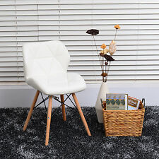 Set of 2 Dining Chair PU Leather  Style Dinning Side Chairs Wood leg Furniture