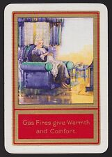 1 Single VINTAGE Playing/Swap Card OLD WIDE ADV GAS FIRES WARMTH LADY Red/Gold