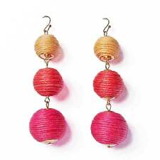 3-TIERS OF MULTI PINK SHEEN DISCO BALL DROP STATEMENT EARRINGS