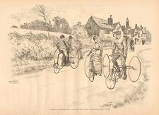 Cycling In England - Down The Ripley Road, w/text Vintage 1887 Antique Art Print
