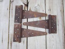 "3 Vtg 10 1/8"" Barn Door Meta T-Strap Hinges Architectural Hardware Rustic Patina"