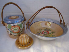 Lot of 4 japan blue & peach luster ware. bowl. jar with lid. reamer.
