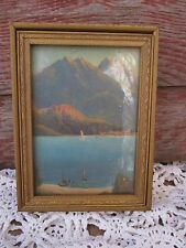Antique Victorian Picture Wood Dresser Jewelry Vanity box Mountain Ocean view