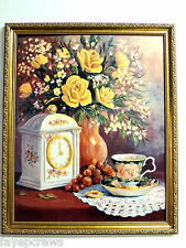 DEMITASSE TEA CUP PICTURE YELLOW ROSES VASE OLD CLOCK FRAMED PRINT16X20