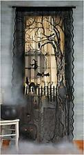 Spooky Creepy Scary Black Lace Lighted Halloween Window or  Door Curtain Panel