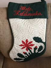 Handmade Quilted Hawaiian Hawaii Mele Kalikimaka Christmas Stocking