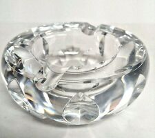 Baccarat Crystal Ashtray Round Leaf Cut Design France Clear MCM Mod Vintage