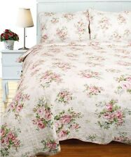 SPRING PINK ROSE Full / Queen QUILT SET : COTTAGE SHABBY ROSES CHIC COMFORTER