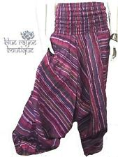 100% Cotton Striped Baggy Yoga BoHo Hippie Gypsy Festival Pants Trousers #02