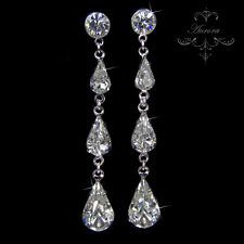 18K Swarovski Crystal Clear Silver Graduated Long Tear Drop Earrings Wedding