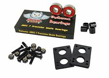 "Owlsome ABEC 7 Precision Skate Bearings w/ 1.25"" Hardware 1/4"" Riser Pads Spacer"
