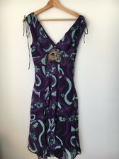 Karen Millen Size 10 Lined Purple Green V Neck, Back silk Dress  T7373