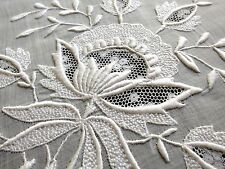 """PRETTY Antique 12"""" Doily Heavily Embroidered & Valenciennes Lace FLOWERS French"""