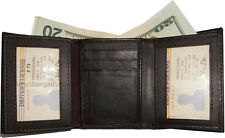 New Trifold Leather Man's wallet 9 card spaces  2 ID window 2 billfolds BNWT
