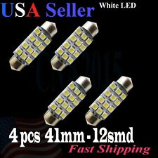4 X White 41mm Festoon 12SMD LED Bulb Interior Lamp Dome Map Trunk Door Light