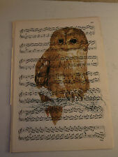 Vintage music sheet printed bird picture, wall art, antique, Tawny Owl