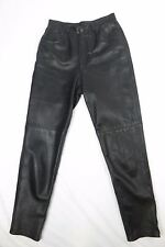 Melanzona Leather Pants Womans 10 Black Made in USA Motocycle Casual
