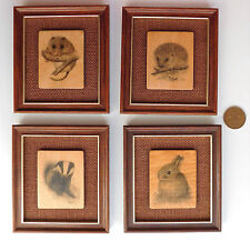 4 animal pictures wooden plaques hedgehog dormouse badger rabbit RLS 1970s style