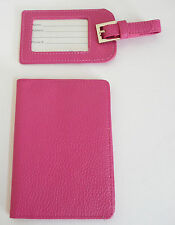 KC Jagger Luggage Tag Passport Cover Set Hot Pink Faux  Leather NWT