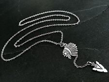Silver Arrowhead & Tribal Chief Lariat Y-Drop Necklace--Stainless Steel Chain