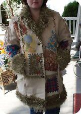 LAPIS  FAUX PATCHWORK STYLE  WARM LAMB LOOK COAT DESIGNER L HIPPY STYLE