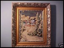 Antique Needlepoint Xmas Winter Scene in Beautiful Victorian Silver & Gold Frame