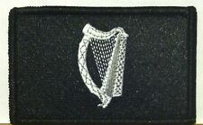IRISH FLAG Patch Iron-On B & W Version Military Tactical Black Border #23