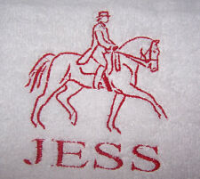 """PERSONALIZED EMBROIDERED DRESSAGE HORSE OUTLINE BATH TOWEL""100% COTTON"