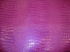 Vinyl fake Leather Crocodile VIOLET upholstery embossed Faux fabric sold BTY