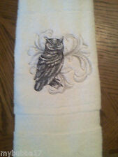 OWL BLACKWORK SET OF 2 HAND TOWELS EMBROIDERED NEW