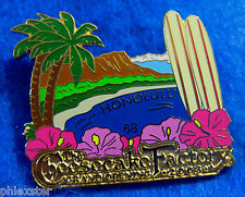 The CHEESECAKE FACTORY HONOLULU GRAND OPENING DIAMOND HEAD DK BLUE SURFBOARD PIN