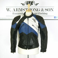 Men's Black Blue GENUINE LEATHER Racing EURO Moto Biker Sports Padded Jacket S