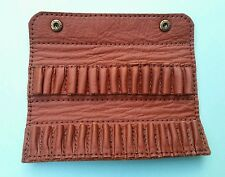 .22  LR, .22 rimfire Bullet wallet. 30 round.  Tan real leather with studs