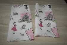 Paris kitchen towels set 2; white pink gray+; Moxie's Mayhem cotton; 28x20; NWT