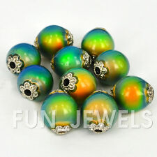 10pcs/pack Magical Color Change Mood Beads - 16x14 Oval W/Silver designs on ends