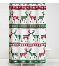 Bath Lodge Cabin Nordic Xmas Winter Reindeer Snowflake Shower Curtain & Hook Set
