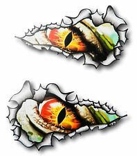 LARGE LONG Handed Pair Ripped Torn Metal Rip Evil EYE Horror Monster car sticker