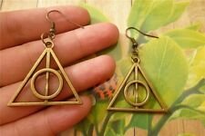 Harry Potter Inspired Deathly Hallows Pendant Earrings  BRONZE Effect *CHEAPEST*