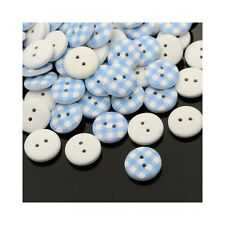 Packet of 20 x Pale Blue/White Wood 15mm Round Buttons (2 Hole) HA14135