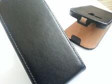 Samsung Galaxy S3 Mini I8190 Cuero Genuino Flip Phone Negro caso cubierta de piel