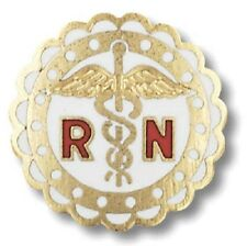 RN Caduceus Lapel Pin Registered Nurse Scalloped Gold Plate Medical Emblem New