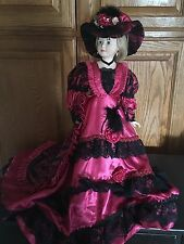 "Vintage Victorian Porcelain 20"" Red Satin and Black Lace Doll with Doll Stand"