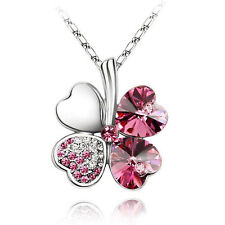 Fashion Women Happiness Clover Crystal Pendant Chain Necklace Wedding Jewelry