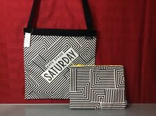 KATE SPADE SATURDAY THREE WAY TOTE Black & White Zigzag +matching Pouch