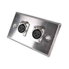 Seismic Audio Stainless Steel Wall Plate -Dual XLR Female Connectors