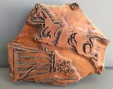 ANTIQUE HAND CARVED WOODEN TEXTILE PRINTING BLOCK STAMP EQUESTRIAN HORSE JUMP