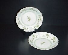 Silesia Herman Ohme Bowl Green Transferware Flowers Ribbons C. 1900 Germany Set