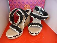 NEW TORY BURCH PALOMA £209 WEDGE HEEL BLACK & BEIGE SUMMER SHOES .. UK 4   US 6